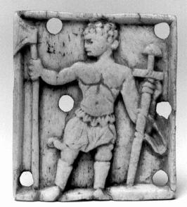 Picture of Figure 1. Ivory plaque, Byzantine 10-11th centuries. Schnütgen Museum, Cologne (inv. no. B-6). Actual size about 5 cm. Photo credit: Rheinisches Bildarchiv Köln. With thanks to the Schnütgen Museum.